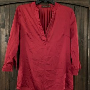 Limited Red Satin 3/4 Sleeve Top